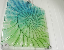 "Load image into Gallery viewer, Ammonite Wall Panel - Small Square - Turquoise Blue Green - 22cm(9"") with fixings"