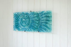 "Ammonite Wall Panel - Large Landscape - Swirl Turquoise Blue - 56x26cm(22x10"") with fixings"