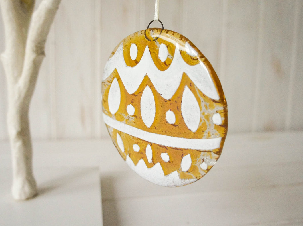 Norwegian Amber Glass  Bauble - 12cm(5