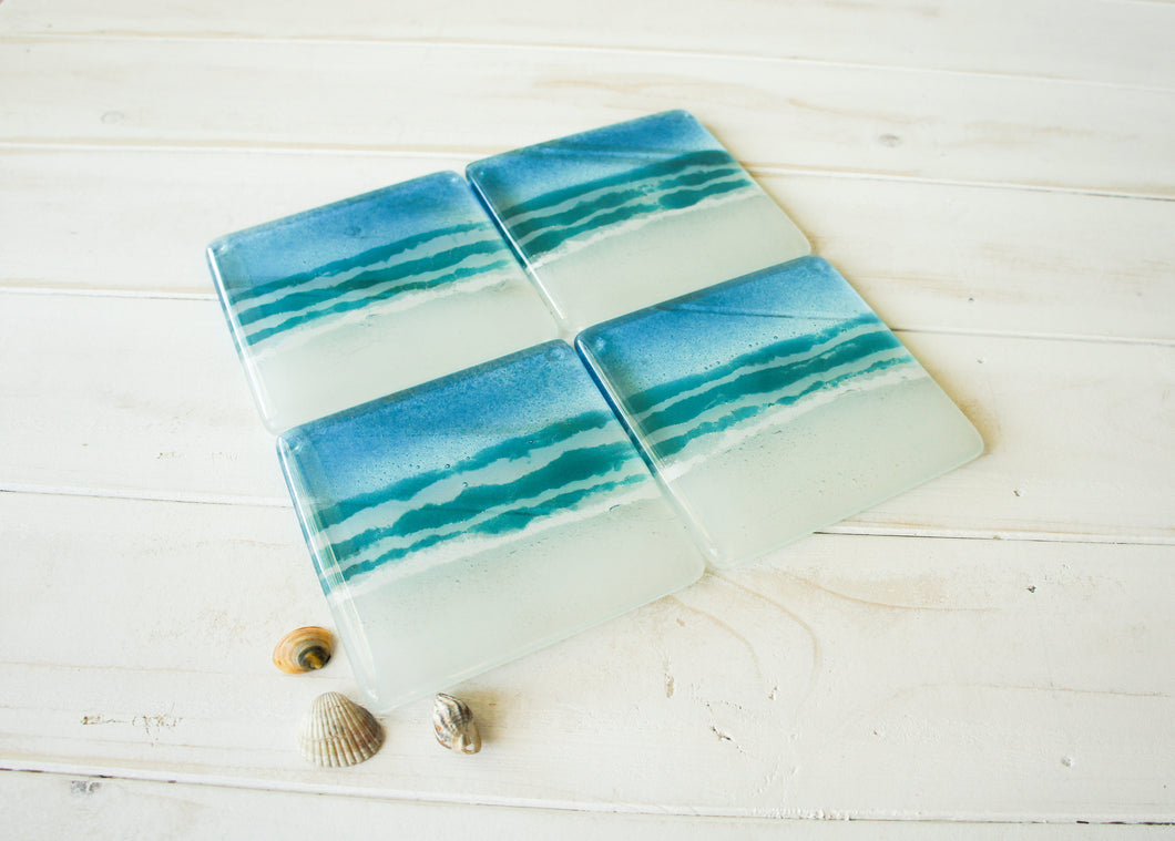 4 Beach Turquoise Coasters