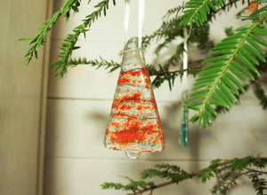 "3 to 6 Mini Red Glass Trees - Hanging - 8cm(3"") with ribbon and organza bags"