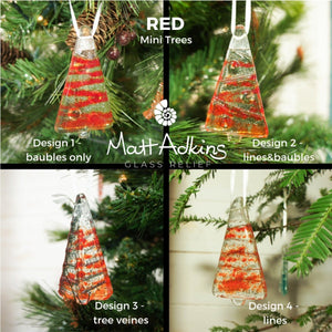 red christmas tree sea glass decorations