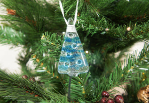 "3 to 6 Mini Blue Glass Trees - Hanging - 8cm(3"") with ribbon and organza bags"
