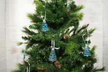 "Load image into Gallery viewer, 3 to 6 Mini Blue Glass Trees - Hanging - 8cm(3"") with ribbon and organza bags"
