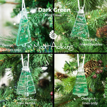"Load image into Gallery viewer, 3 to 6 Mini Green Glass Trees - Hanging - 8cm(3"") with ribbon and organza bags"