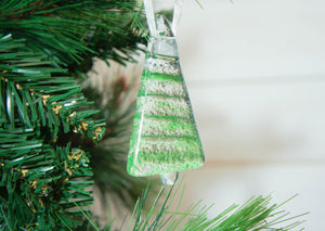 "3 to 6 Mini Green Glass Trees - Hanging - 8cm(3"")"