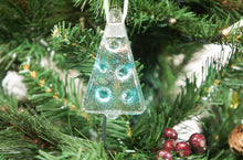 "Load image into Gallery viewer, 3 to 6 Mini Turquoise Glass Trees - Hanging - 8cm(3"")"