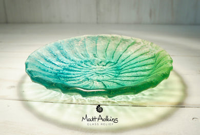 lime green blue teal turquoise ammonite blue glass bowl