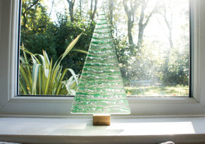 "XL Green Glass Tree - Freestanding - 32cm/12 1/2"" with wooden block"
