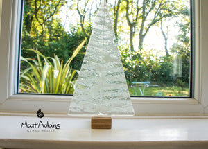 "XL White Glass Tree - Freestanding - 32cm/12 1/2"" with wooden block"