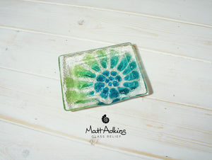 "Ammonite Soap Dish - Green Turquoise Blue - 13x10.5cm(5""x4"")"