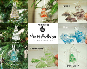 "3 Mini Glass Trees - Hanging - Choose your colours - 8cm(3"")"