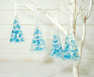 1 to 6 Medium Blue Trees - Hanging - 12cm/3 3/4""