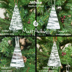 1 to 6 Medium White Glass Trees - Hanging - 12cm/3 3/4""