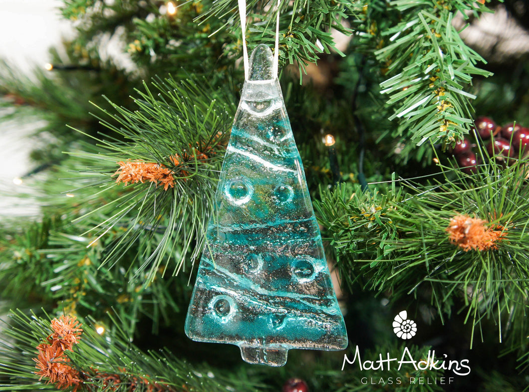 1 to 6 Medium Turquoise Glass Trees - Hanging - 12cm/3 3/4