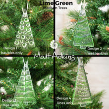 Load image into Gallery viewer, 1 to 6 Medium Lime Green Glass Trees - Hanging - 12cm/3 3/4""