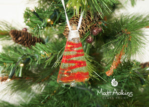 red sea glass christmas tree decorations