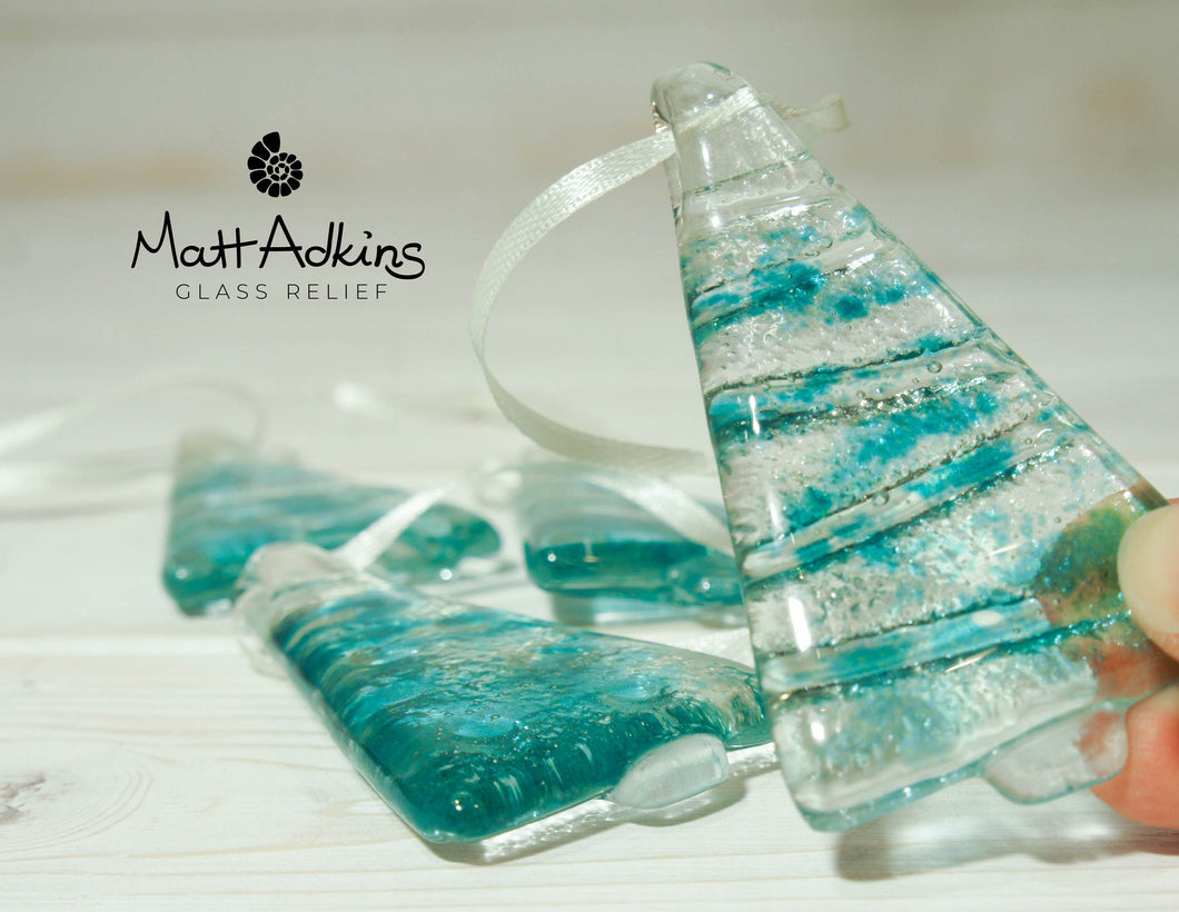 turquoise hanging glass christmas trees