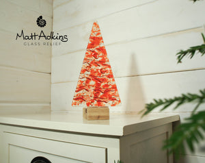 "Large Red Glass Tree - Freestanding - 22cm/8 1/2"" with wooden block"