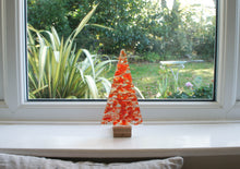 "Load image into Gallery viewer, Large Red Glass Tree - Freestanding - 22cm/8 1/2"" with wooden block"