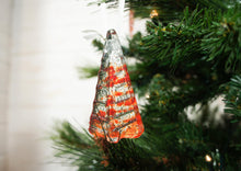 "Load image into Gallery viewer, 3 to 6 Mini Red Glass Trees - Hanging - 8cm(3"") with ribbon and organza bags"