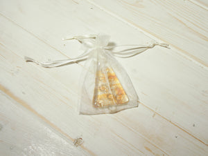 "3 to 6 Mini Amber / Gold Glass Trees - Hanging - 8cm(3"") with ribbon and organza bags"