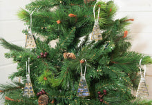 "Load image into Gallery viewer, 3 to 6 Mini Amber / Gold Glass Trees - Hanging - 8cm(3"") with ribbon and organza bags"