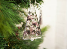 "Load image into Gallery viewer, 3 to 6 Mini Purple Glass Trees - Hanging - 8cm(3"") with ribbon and organza bags"