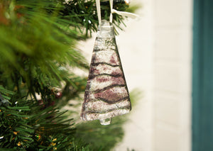 "3 to 6 Mini Purple Glass Trees - Hanging - 8cm(3"") with ribbon and organza bags"