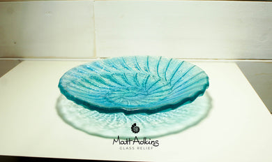 ammonite nautilus glass bowl turquoise teal blue