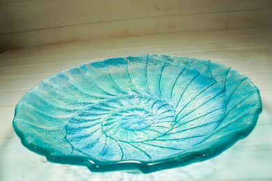 ammonite nautilus glass fruit bowl