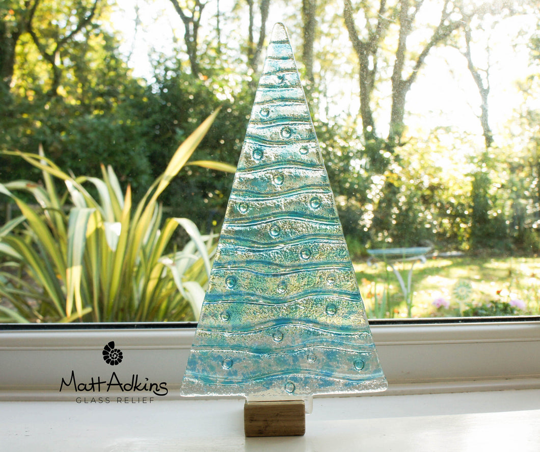 XL Turquoise&Blue Glass Tree - Freestanding - 32cm/12 1/2