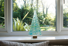 "Load image into Gallery viewer, XL Turquoise&Blue Glass Tree - Freestanding - 32cm/12 1/2"" with wooden block"