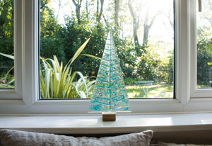 "XL Turquoise&Blue Glass Tree - Freestanding - 32cm/12 1/2"" with wooden block"