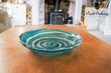 "Load image into Gallery viewer, Turquoise Blue Swirl Bowl - 29cm(11 1/2"")"