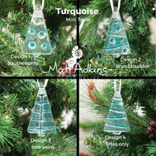Load image into Gallery viewer, teal hanging christmas glass trees