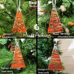 1 to 6 Medium Red Glass Trees - Hanging - 12cm/3 3/4""