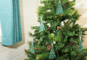1 to 6 Medium Turquoise Glass Trees - Hanging - 12cm/3 3/4""