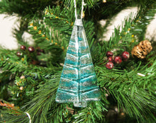 Load image into Gallery viewer, 1 to 6 Medium Turquoise Glass Trees - Hanging - 12cm/3 3/4""