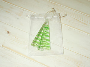 1 to 6 Medium Lime Green Glass Trees - Hanging - 12cm/3 3/4""