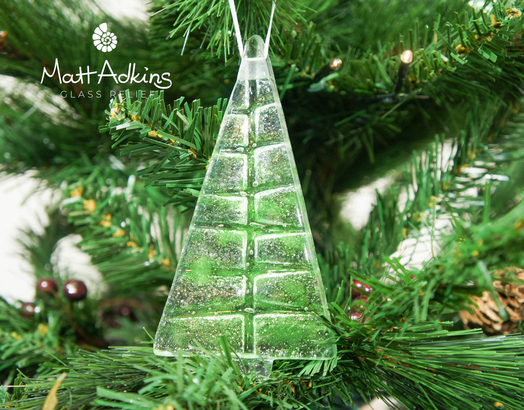 1 to 6 Medium Lime Green Glass Trees - Hanging - 12cm/3 3/4