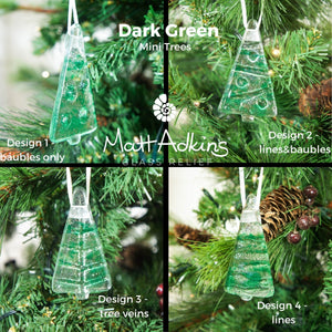 "3 to 6 Mini Green Glass Trees - Hanging - 8cm(3"") with ribbon and organza bags"
