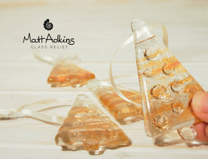 amber gold sea glass christmas tree decoration