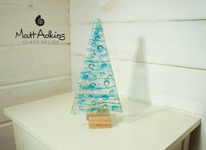 "Large Turquoise&Blue Glass Tree - Freestanding - 22cm/8 1/2"" with wooden block"