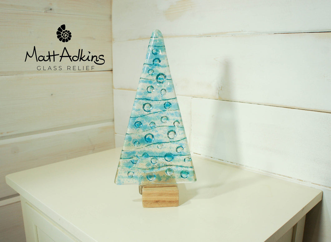 Large Turquoise&Blue Glass Tree - Freestanding - 22cm/8 1/2