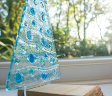 "Load image into Gallery viewer, Large Turquoise&Blue Glass Tree - Freestanding - 22cm/8 1/2"" with wooden block"