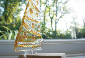 "Large Gold Glass Tree -  Freestanding - 22cm/8 1/2"" with wooden block"