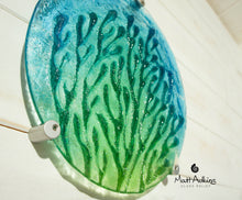 "Load image into Gallery viewer, Coral Wall Panel - Turquoise Blue Green - 29cm(10 1/2"") with fixings"