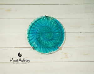 "Ammonite Wall Panel - Round Turquoise Blue - 29cm(10 1/2"") with 3 fixings"