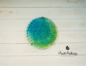 Ammonite Wall Panel - Round Turquoise Blue Green- 60cm with 3 fixings